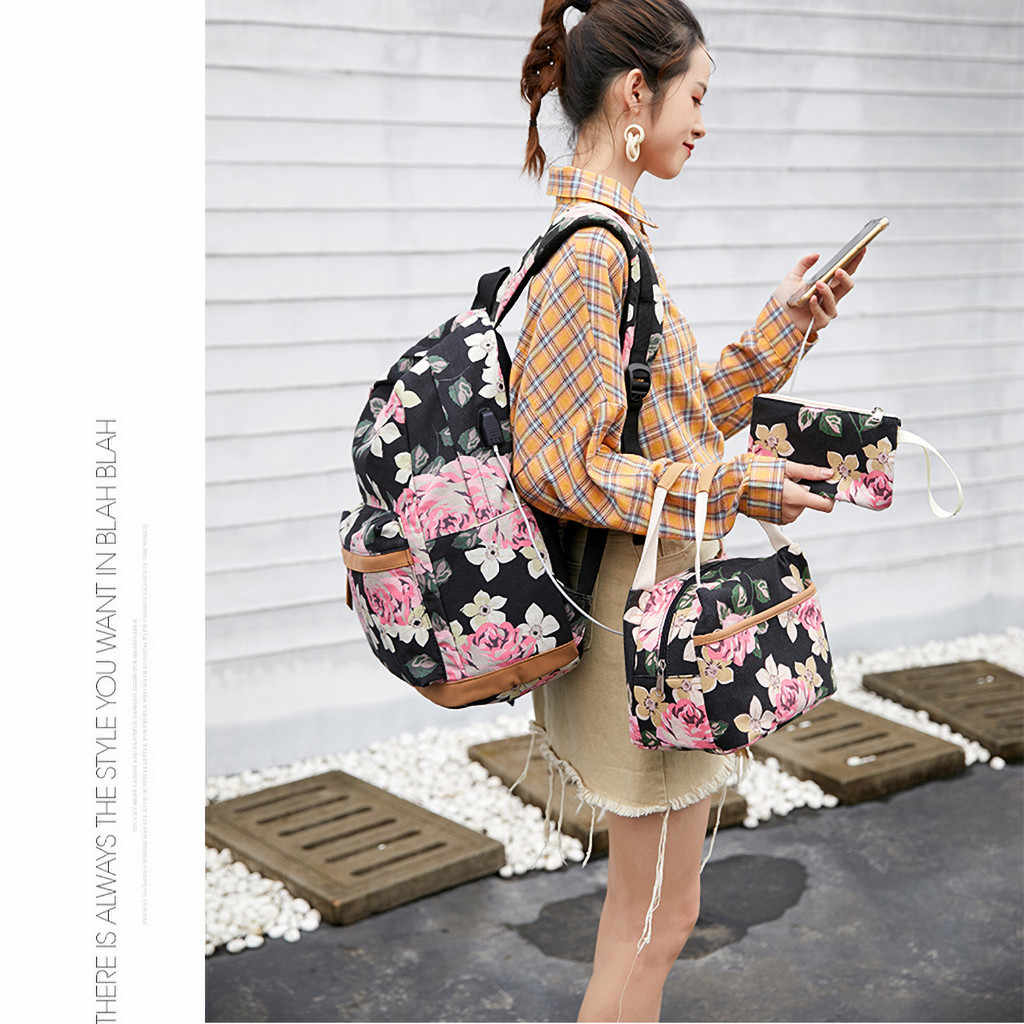 Floral Women Backpack High Capacity Female Students Back Pack Schoolbag For teenager Girls Cute Knapsack small tote Purse 3 pcs