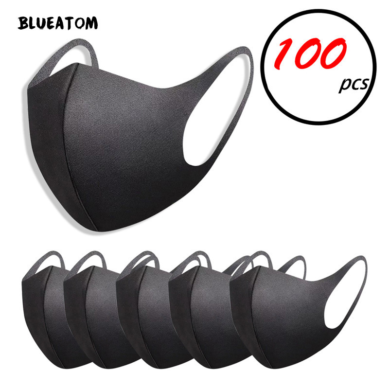 100pcs Reusable Adult Anti Haze Black Mask Pm2.5 Droplet 3D Ice Silk Cotton Washable Mask Wind Dust Resistance Against Viruses
