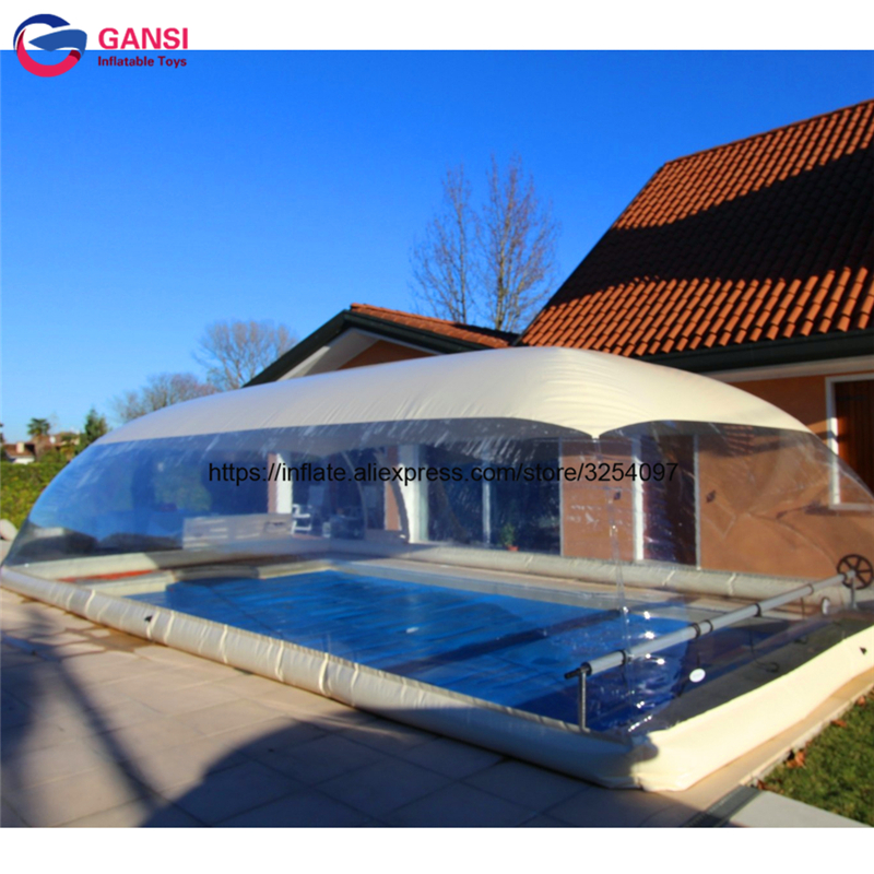 Popular Swimming Pool Cover Winter Inflatable Water Pool Tent Yard Inflatable Pool Cover Bubble Tents Bottom Air And Water Tube