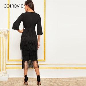 Image 2 - Женское длинное платье карандаш COLROVIE, Гламурное однотонное платье с v образным вырезом и многослойной бахромой, лето 2019