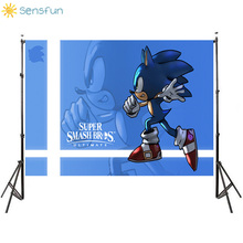 цена на Sensfun Photography Background Cartoon Sonic Blue Theme Birthday Party Studio Background Customize Backgrounds for Photo Studio