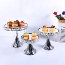 Crysta Zilveren Cake Plaat Stand Acryl Spiegel Metalen Cupcake Schotel Party Filmen Props Dessert Bruiloft Decoratie Lade Display