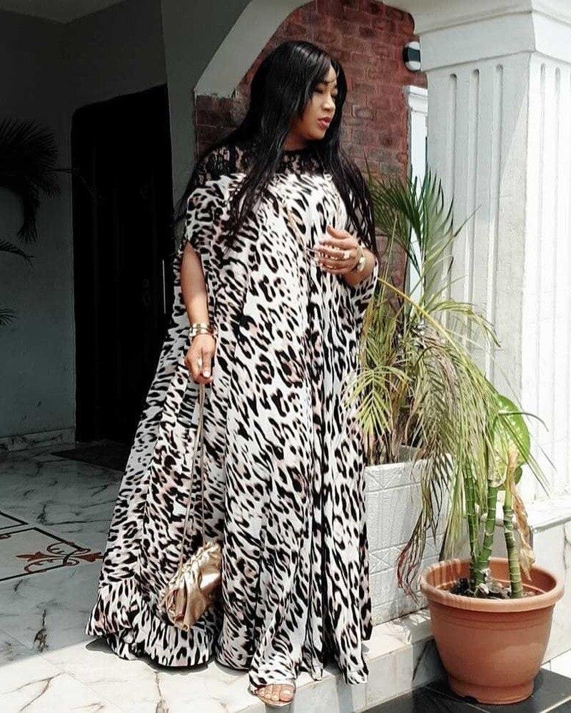 Nueva moda de talla grande blanco retales de leopardo verano maxi vestido de encaje de hombro casual vestido grande