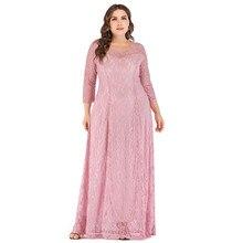Siskakia-vestido de talla grande de encaje, blanco, ahuecado, mosaico transparente, cuello redondo, manga 3/4, línea A, 6XL, rosa, primavera 2020