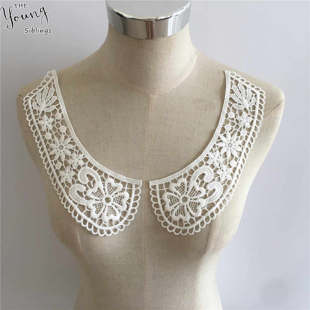 white Embroidered Lace Collar Neckline Applique Embroidery Sewing on Patches Sewing Fabric Accessories 1pcs sell free shipping