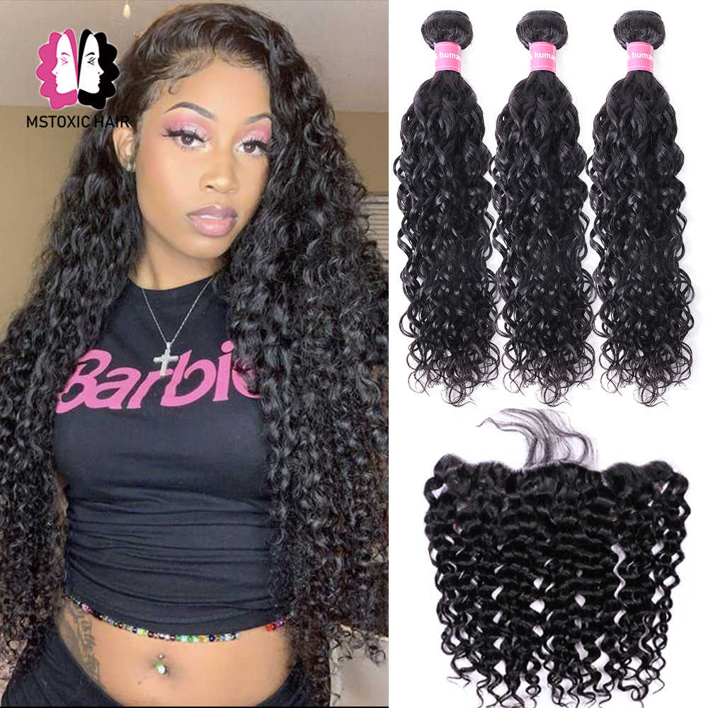 Brazilian Water Wave Bundles With Frontal Human Hair Bundles With Closure Remy Lace Frontal Closure With Bundles Medium Ratio
