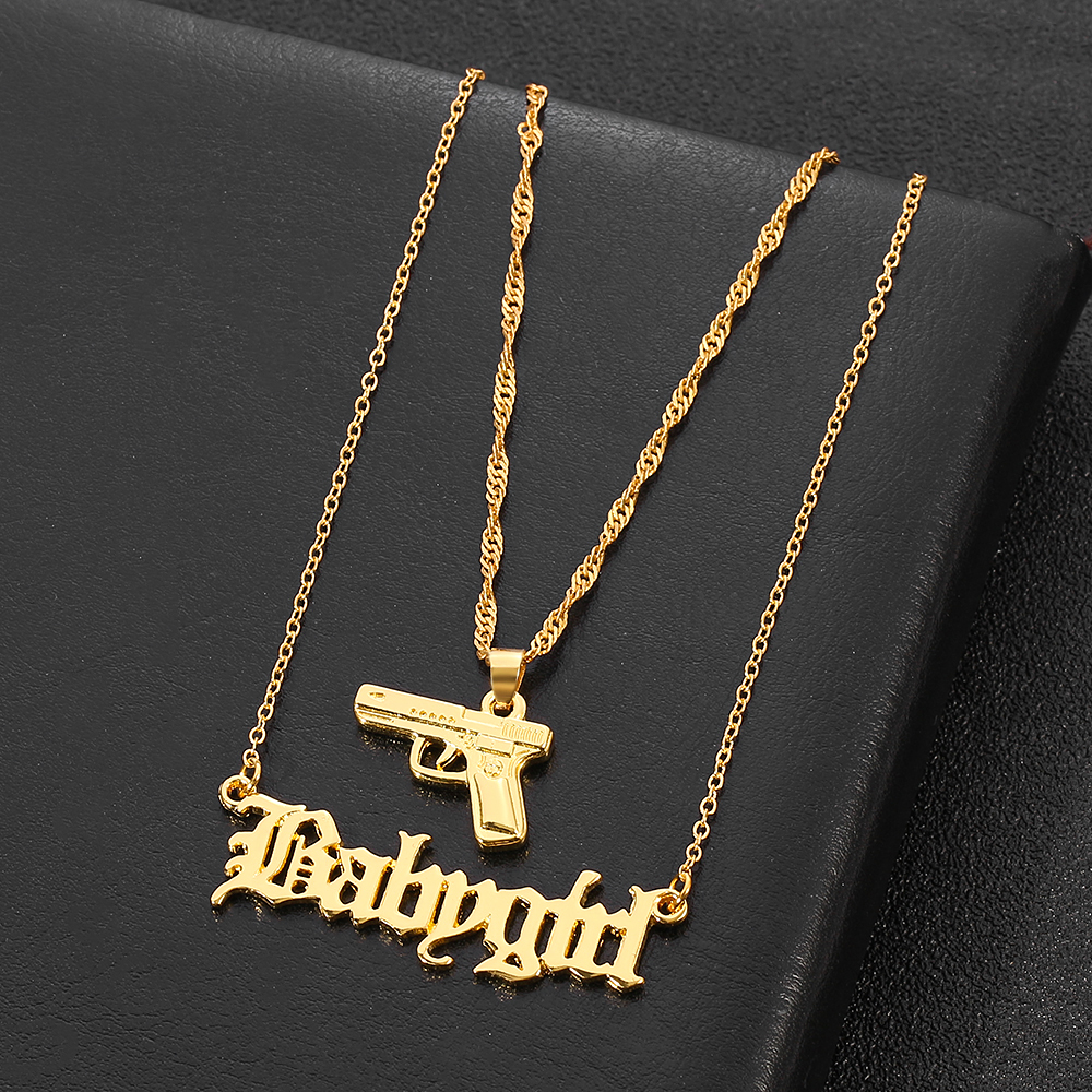 Punk Hip Hop Pistol Submachine Babygirl Double layer Necklace For Women Gold Color Metal Long Chain Necklace Fashion Jewelry