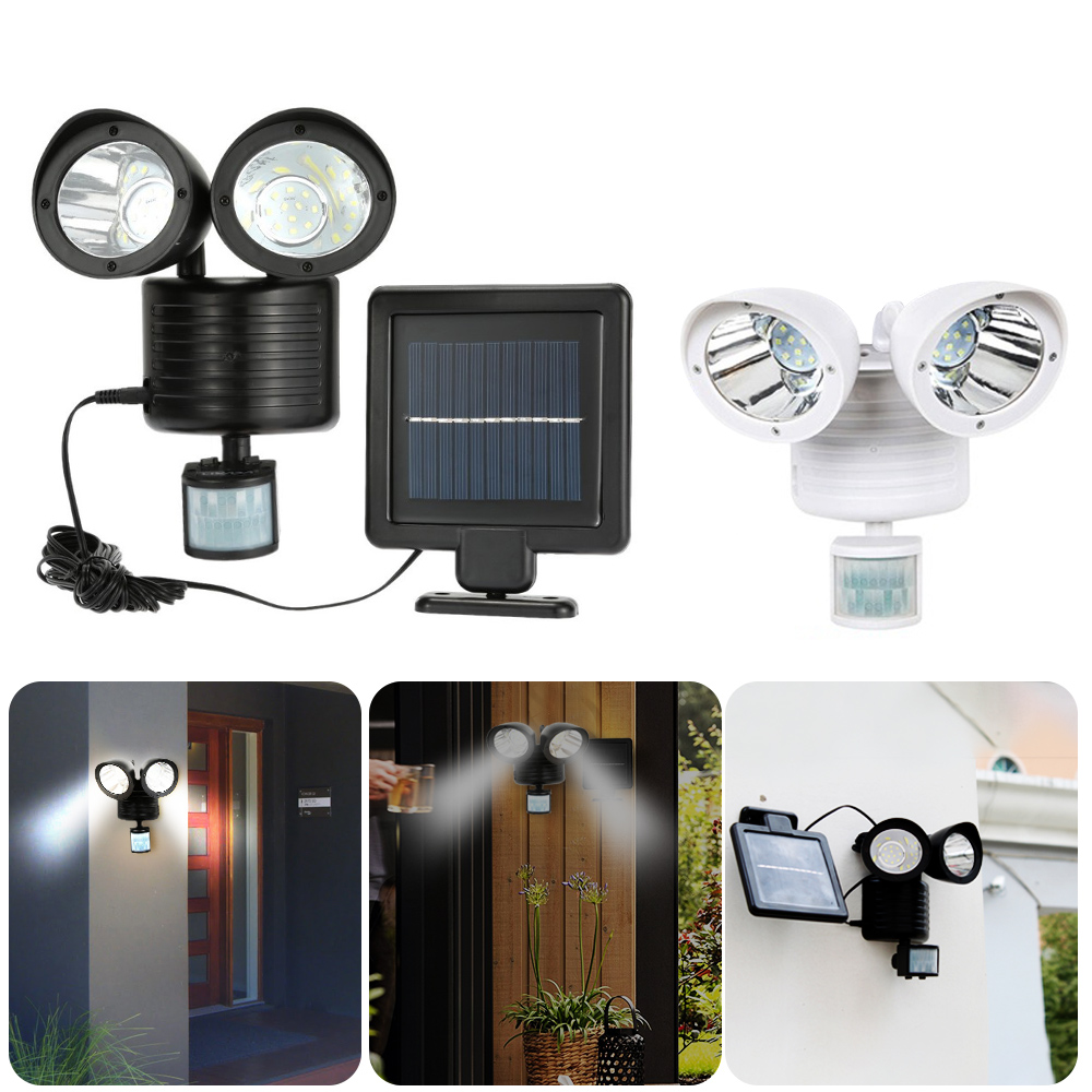 22 42 LED Solar Light Double Head Human Body Motion Sensor Solar Lamp Outdoor Waterproof Pathway Emergency Spotlight