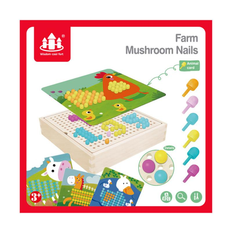 Box-packed Grain Mushroom Nail Beads Intelligent 3D Puzzle Games Jigsaw Board For Children Kids Educational Toys Handmade Toys