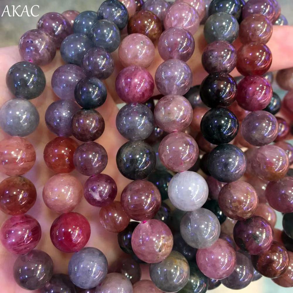 AKAC 7 7.8mm/8 9mm naturalne rzadko kolorowy spinel bransoletka kamień dla kobiet mężczyzn bransoletka w Koraliki od Biżuteria i akcesoria na  Grupa 1