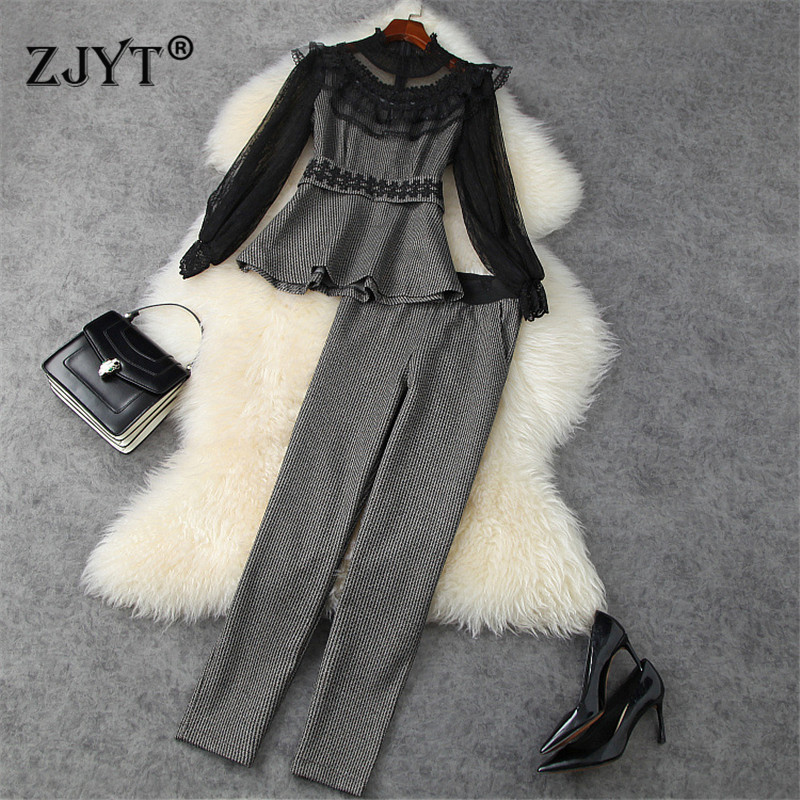 2021 Spring Elegant Office Lady Pants 2Piece Set Women Runway Fashion Ruffle Lace Patchwork Top and Pants Suit Party Outfits