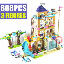 New Friends Heartlake Girls House Fit Friends Castle Princess Figures City Girls Building Block Bricks Kid Diy Toy Gift Game Kit new playground series fits legoings creators city streetview set house figures model building kit bricks blocks diy gift kid toy