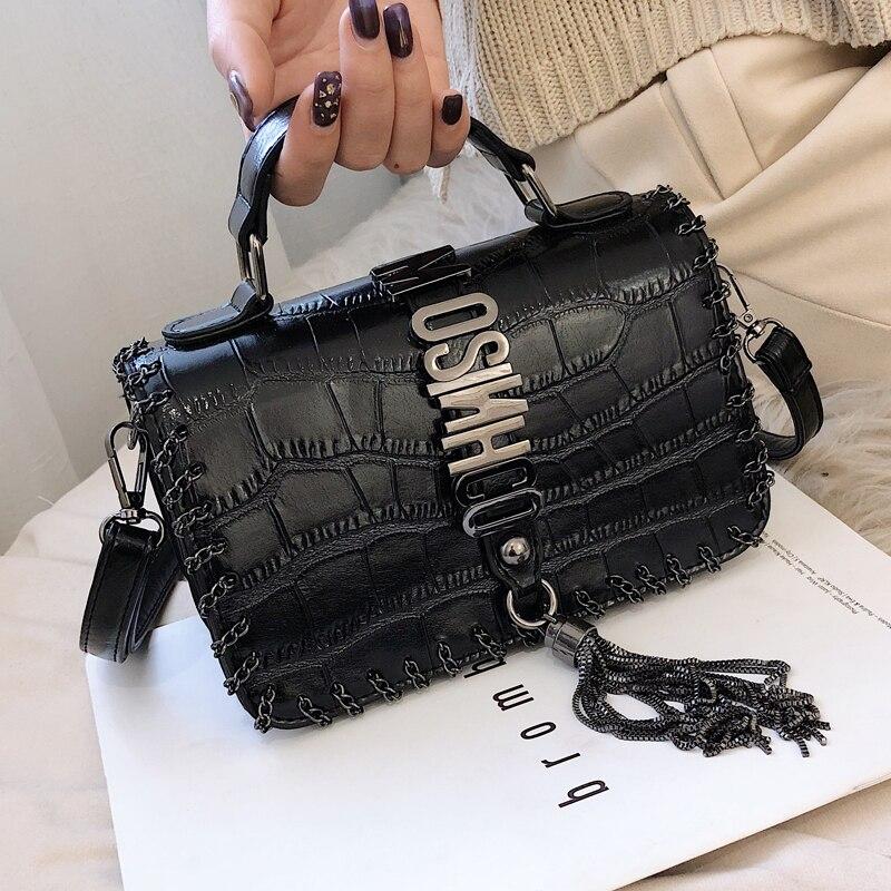 Bolso de mujer de moda con borla de marca de Louis, bolso de cuero, bolso de hombro con solapa pequeña, bolso bandolera para mujer 2019, bolso