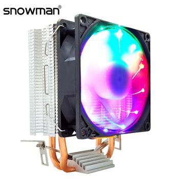SNOWMAN rury cieplne chłodnica procesora PWM 4 Pin 90mm RGB Intel LGA 1200 1150 1151 1155 2011 AMD AM2 AM3 AM4 cichy PC wentylator chłodzący CPU i3 tanie i dobre opinie NONE CN (pochodzenie) Intel and AMD 2 5 W Łożysko olejowe 50 000 godzin 1900 rpm 15-25dBA 45CFM 4 LINIE rurka cieplna