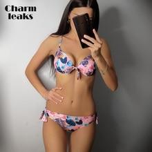Charmleaks Women Low Waist Floral Print Bikini Set Tied From Swimsuit Bandage Swimwear Strappy Beachwear sweet style strappy criss cross floral print swimsuit for women