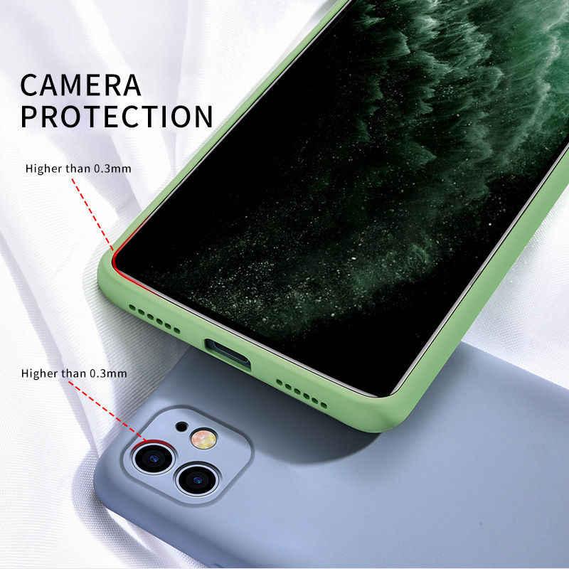 Kẹo Màu Ốp Lưng Điện Thoại Iphone 11 11 Pro Max Silicone Lỏng Màu Lưng Cho iPhone 11 Ốp Lưng Mềm Mại TPU Nửa Đêm Xanh Ốp Lưng