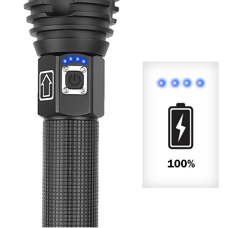 usb recarregável luz tática 18650 & 26650