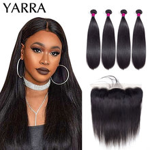Hair-Bundles Frontal Straight Yarra with Remy-Hair Lace-Bone Pre-Plucked 13x4 Peruvian