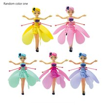 цена на Mini Drone Aircraft Fairy Magical Princess Dolls Infrared Light Suspension Induction Flying Doll Aircraft Helicopter Toys Gift