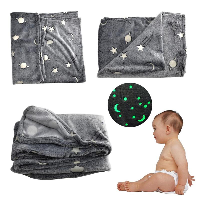 Baby Blanket Magic Super Soft Luminous Flannel Warm Nap Cover Wrap Infant Blanket Glow In The Dark Cotton Blend Blanket Mat