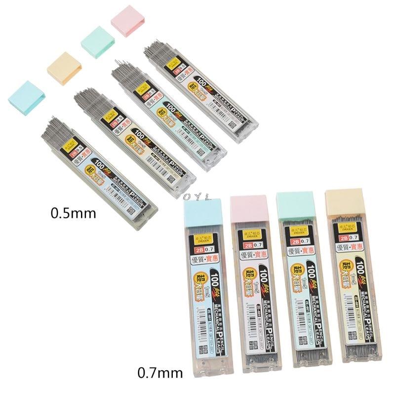 100 шт./кор. графитные грифели 2B механический карандаш заправка Пластик автоматический заменить карандашный грифель 0,5, 0,7 продвижение