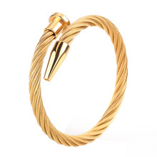 luxury bangle gold bangles/men/stainless steel/gold/bangles luxury jewelry fashion gift for male female stainless steel Bangles(China)