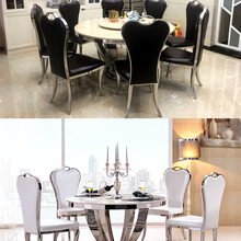 Chair Dining-Table Comedor Stainless-Steel Marble Round Nordic Cadeira Mesa Muebles-De-Madera