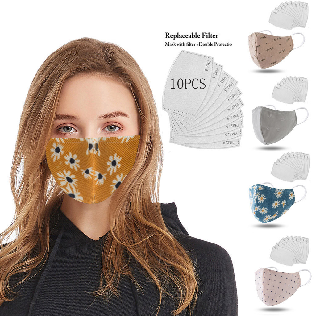 Flower Printed Funny Anti Pollution PM2.5 Dust Face Mask Respirator Washable Reusable Unisex Face Masks Asthma/Travel/Cycling