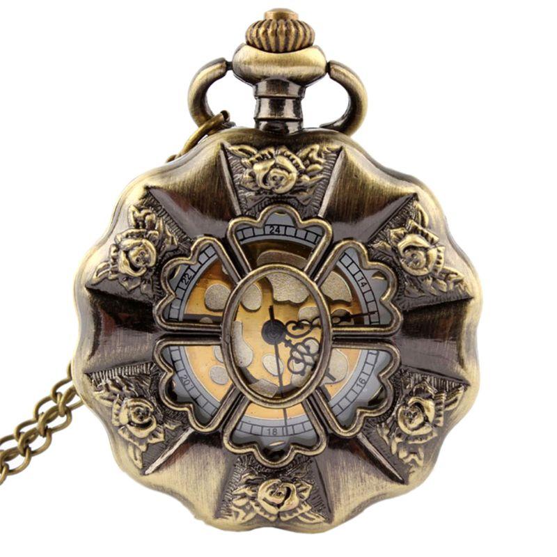 Antique Steampunk Rose Flower Carved Quartz Pocket Watch Men Women Necklace Chain Retro Pendant Jewelry