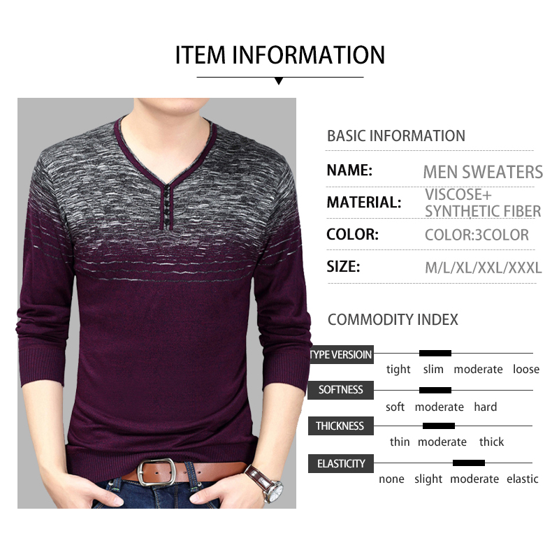 Autumn New Fashion Men Sweaters Young Men's Slim Sweater V Neck Splicing Design Thin Long Sleeve Casual Men's Wear Clothing