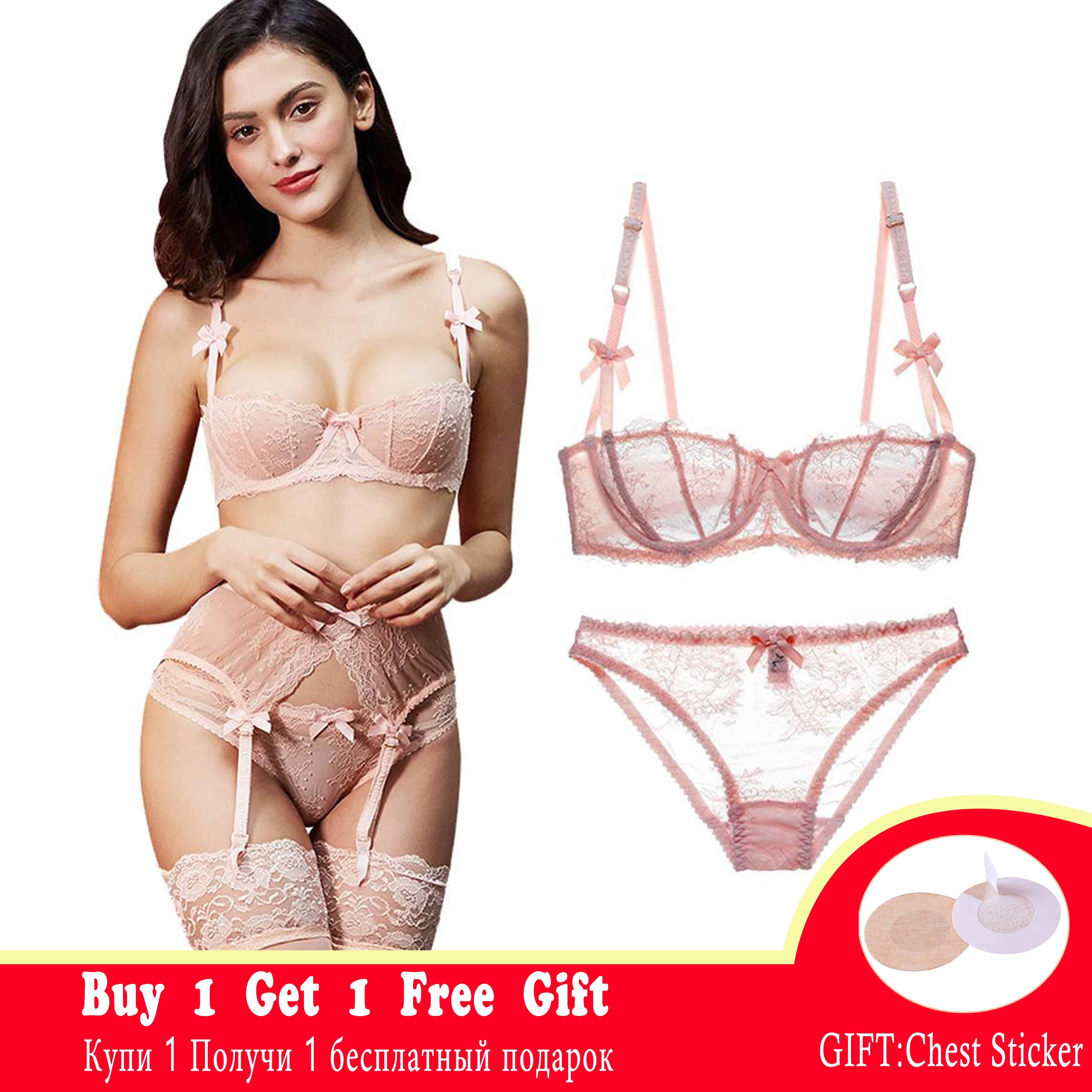 CYHWR New Fashion Transparent Sexy Underwire Women Lace Ultra-thin Comfortable Underwear Bra Set