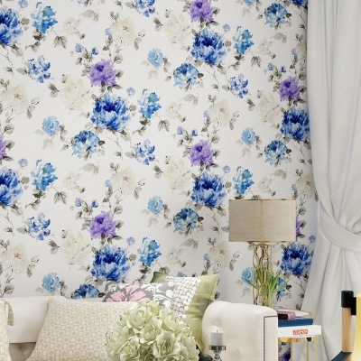 Warm Pastoral Style Big Flower Clothing Store PVC Wallpaper American Vintage Bedroom Background Of Television In The Drawing Roo