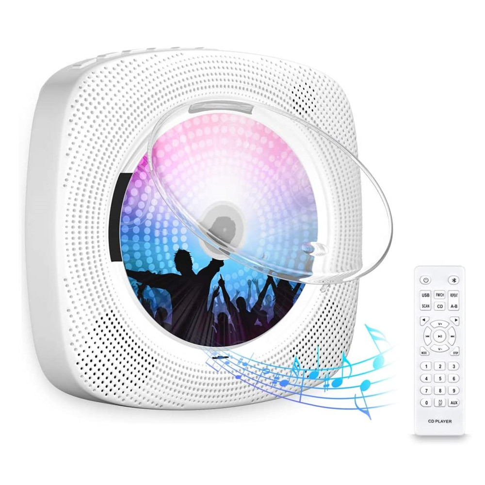 Wall CD Player With Bluetooth Protection Lid Built-in Loudspeaker LCD Display Home Audio Boombox Remote Control Support FM Radio