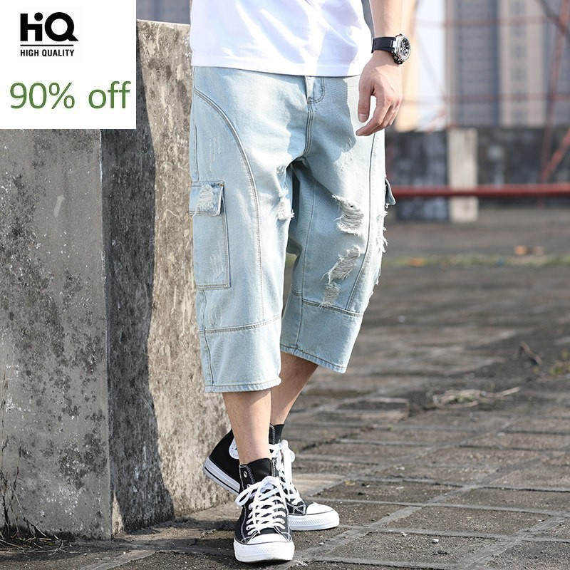 Summer Japan Style Washed Denim Calf Length Pants Men High Street Loose Plus Size 42 Hole Ripped Multi Pockets Jeans Harem Pants