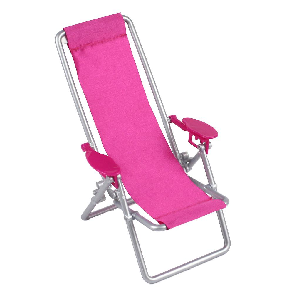 Dollhouse Furniture Foldable Deckchair Lovely Miniature Lounge Beach Chair For 11.5in Dolls