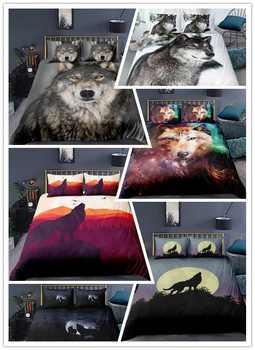 3D Print Bedding Set Duvet Cover Set King/Europe/USA Animal Moonlight wolf Bedclothes