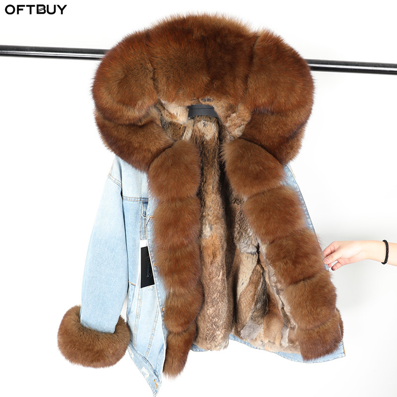 OFTBUY 2019 Winter Jacket Women Real Fur Coat Parka Big Fur Real Fox Collar Rabbit Liner Denim Jacket Streetwear Detachable New
