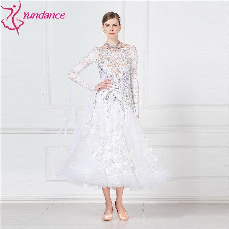 B-17155 Elegant White Ballroom Dance Dresses For Competition