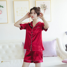 new simulation silks pajamas set Ladies short-sleeved shorts two-piece home service sexy solid color satin nightshirt