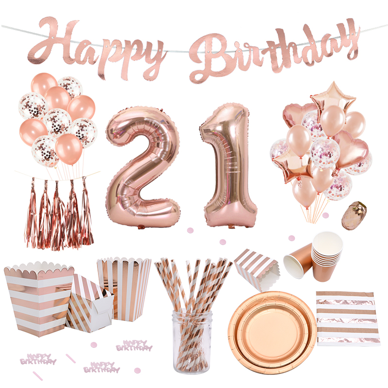 Rose Gold 21st Birthday Party Decoration Happy Birthday Balloons Banner Popcorn Boxes Garland For 21 Years Old Party Supplies