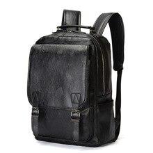 Brand Pu Leather Backpack For Men Mochila Masculina Bagpack Quality Mochilas Hombre Backpack Men Vintage Mens Travel Bag Pack цена