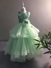 Green Ball Gown Girls Pageant Dresses Princess Flower Girls Dress For Party And Wedding komunia white ivory 2018 flower girls dresses for wedding beaded lace princess girls dress pageant gown size 2 16y