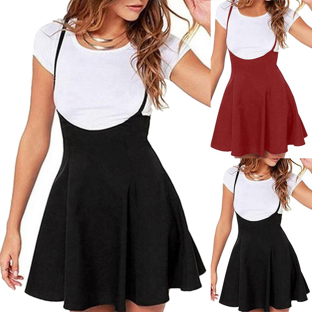 Women Solid Color Shoulder Straps Pleated Hem A-Line Mini Braces Skater Skirt