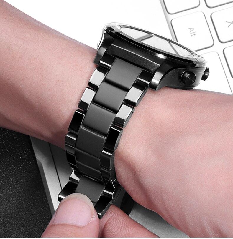 Ремешок керамический для Samsung Galaxy watch 46 мм, браслет для часов Gear S3 Frontier 46 20 22 мм Huawei watch GT2 22 мм haylou solar