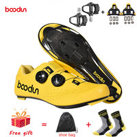 Boodun New Self Locking Carbon Fiber Road Cycling Shoes Men Bike Racing Athletic Shoes Bicycle Breathable Ultralight Sneakers|Cycling Shoes| |  -