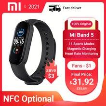 Xiaomi – Bracelet connecté Mi Band 5, NFC, écran AMOLED couleur, moniteur de fréquence cardiaque, moniteur d'activité physique, Bluetooth 5.0, étanche, 4 couleurs