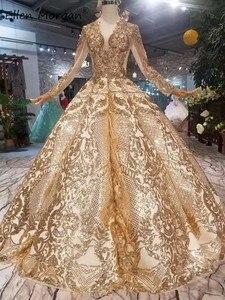 Image 2 - Robe de mariée dorée Vintage à manches longues, tenue de mariée luxueuse de bonne qualité à manches longues, longueur de plancher, perles, 2020