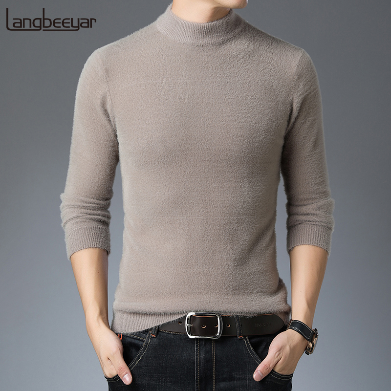2019 Thick New Fashion Brand Sweaters Man Pullovers Slim Fit Jumpers Knitred Turtleneck Winter Korean Style Casual Mens Clothes