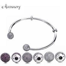 Moonmory Bracelet ouvert en argent, Moments à onglet, perles en argent Sterling S925, bijoux avec Zircon rouge, bricolage même