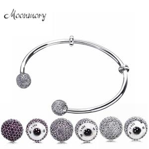 Image 1 - Moonmory Moments Silver Open Bangle with Pave Caps S925 Sterling Silver bead Bracelet with Red Zircon Diy Charm Bangle Jewelry
